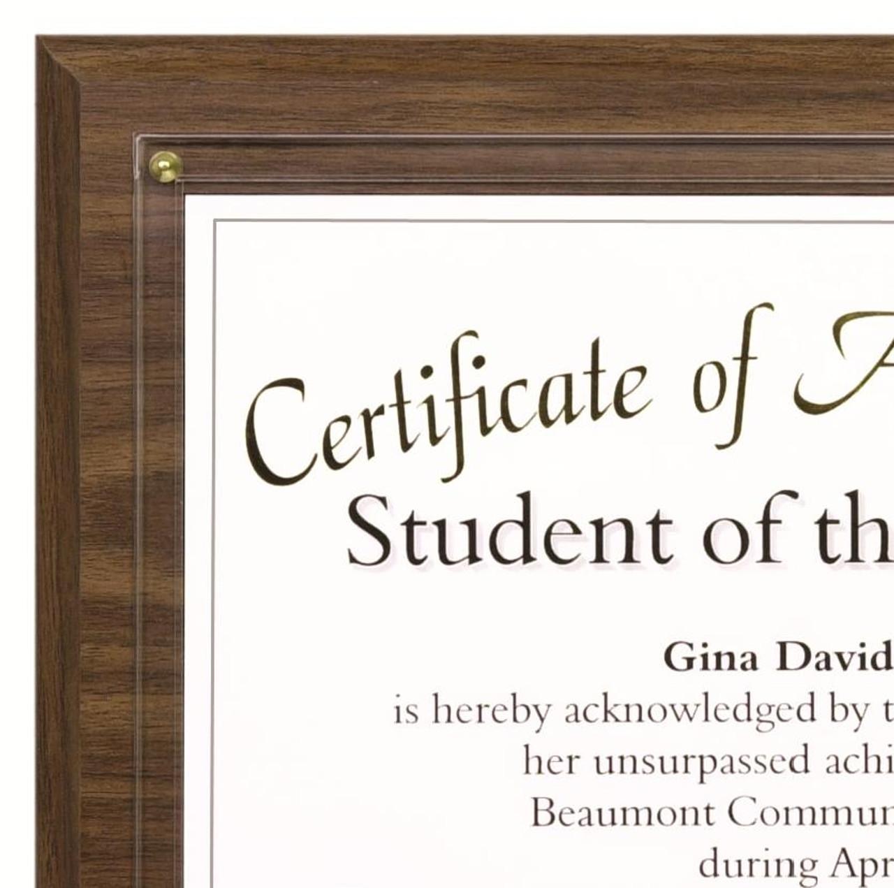 Certificate Plaque; close-up of walnut plaque