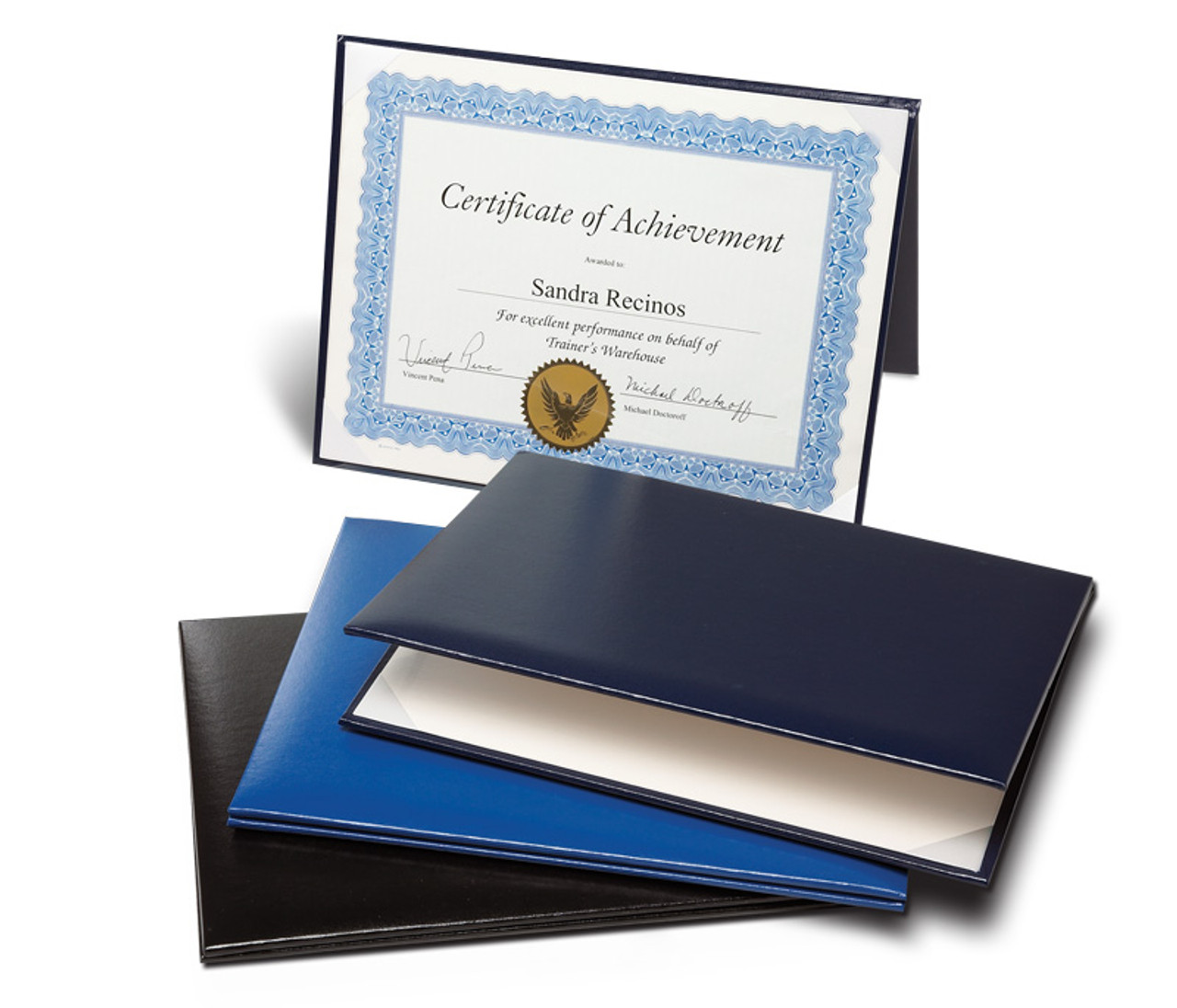 Padded Certificate Folder; black and navy