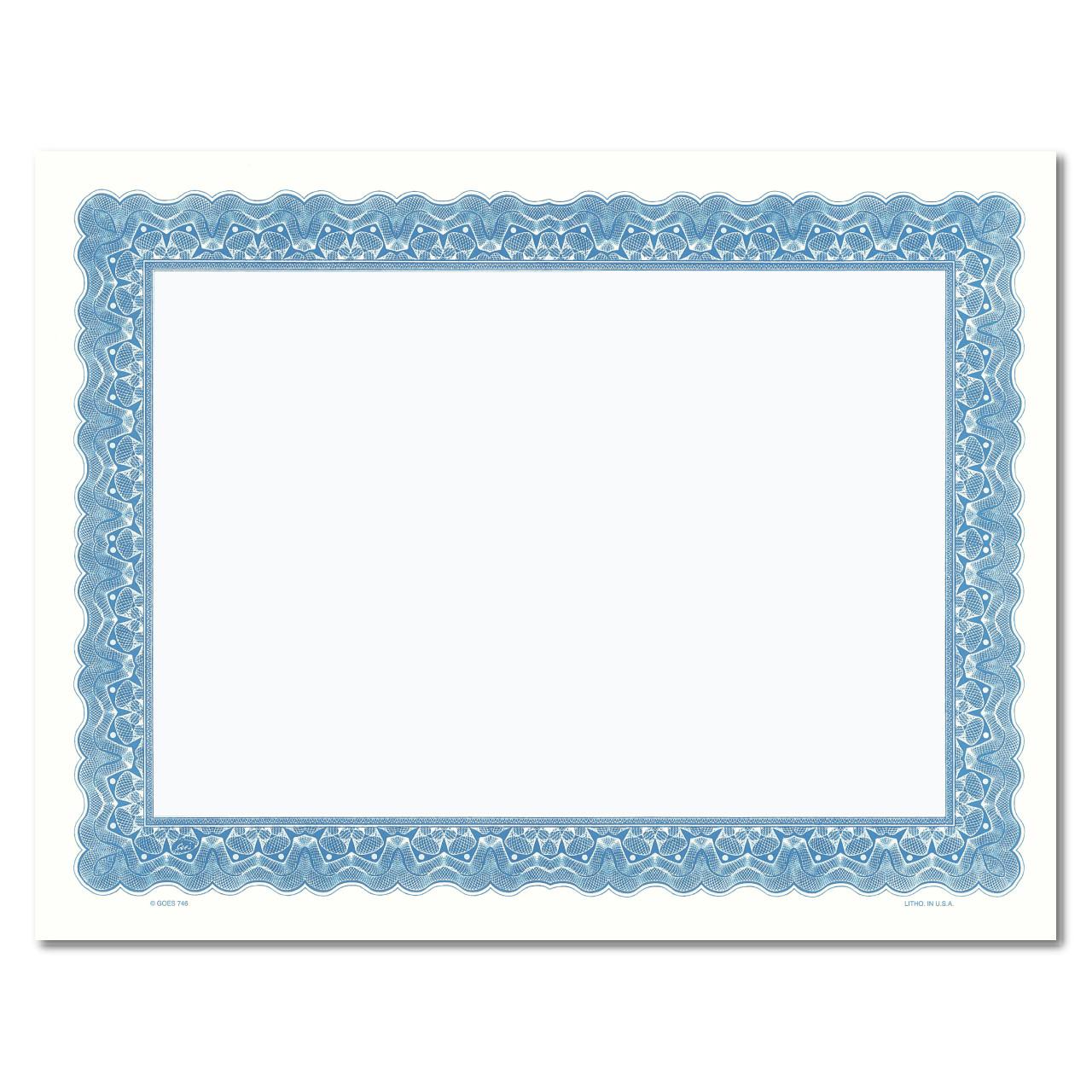 Certificate Paper - Full Border w/Matching Center BLUE
