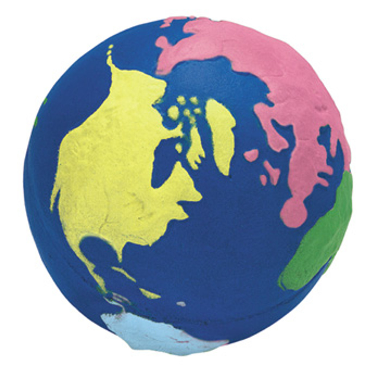 Foam Stress Ball with imprint of world; North America is yellow