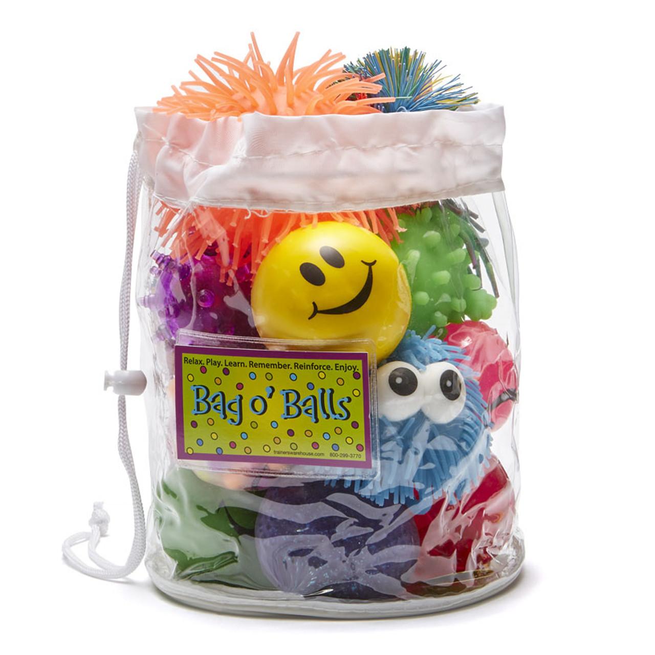 12 assorted balls in a clear vinyl, drawstring bag