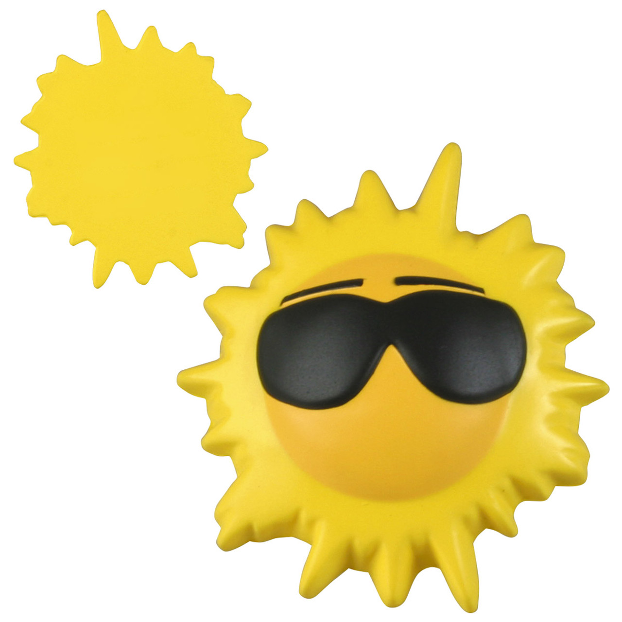Cool Sun Stress  Reliever Toy. Front has sun wearing sunglasses; back is plain and flat.