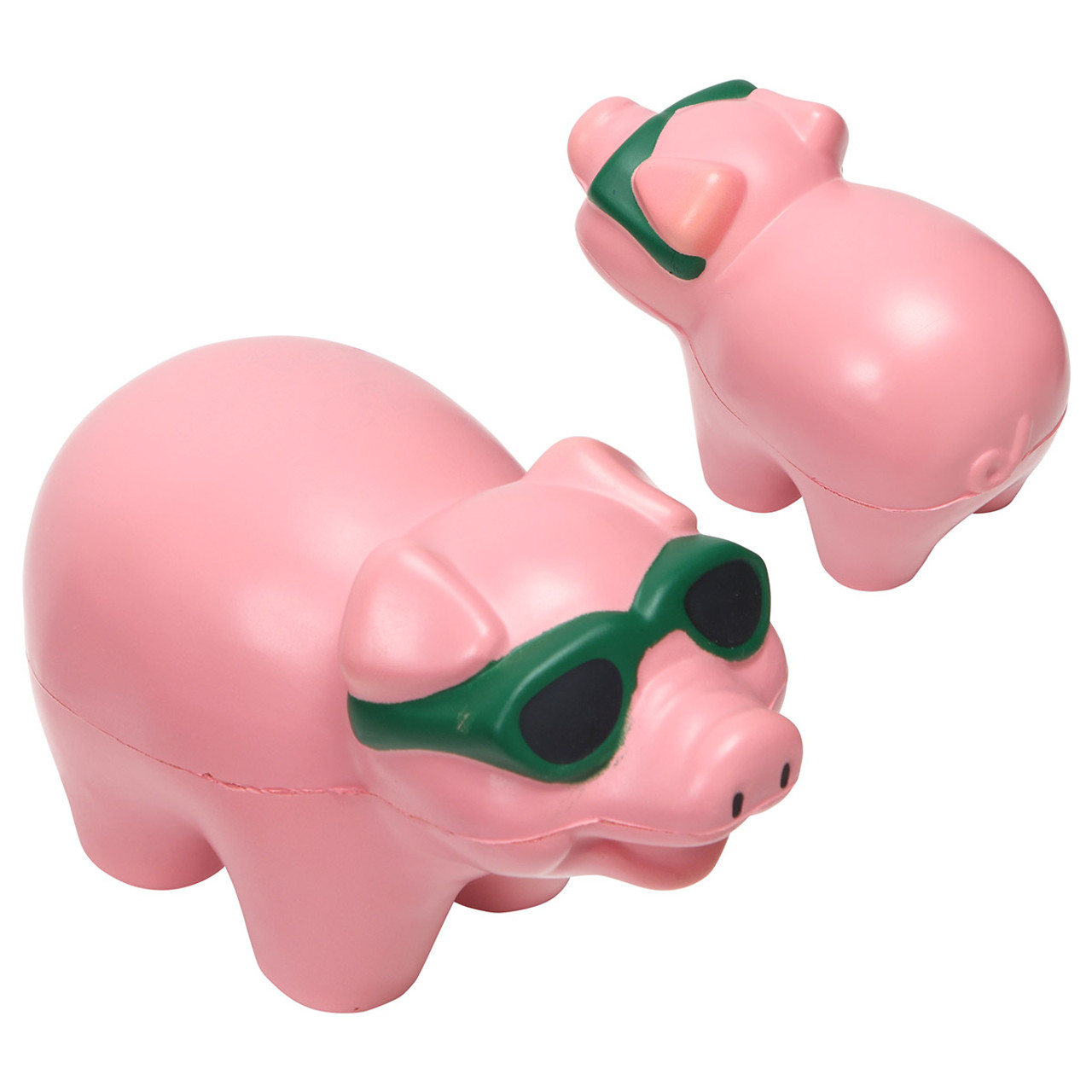 Cool Pig wearing sunglasses, foam Stress Reliever; front and back