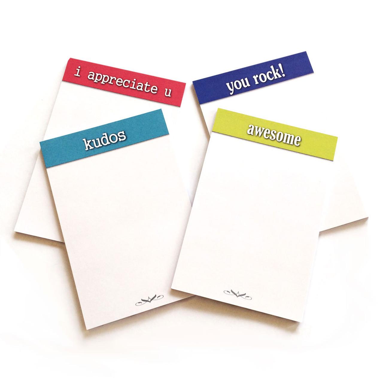Appreciation Sticky Note Pads; 4 pad styles