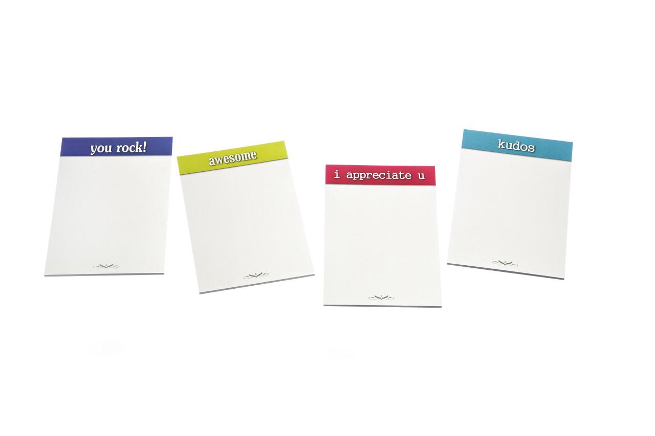 Appreciation Sticky Note Pads; 4 varieties - 20 pads