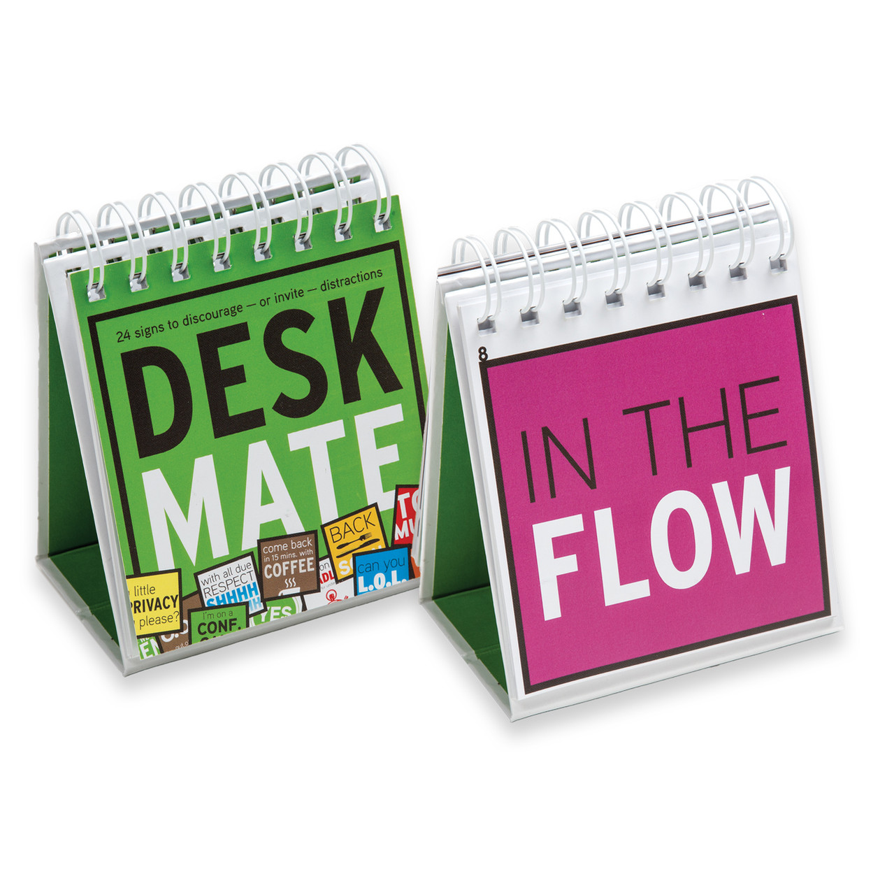 DeskMate, front and one inside sign