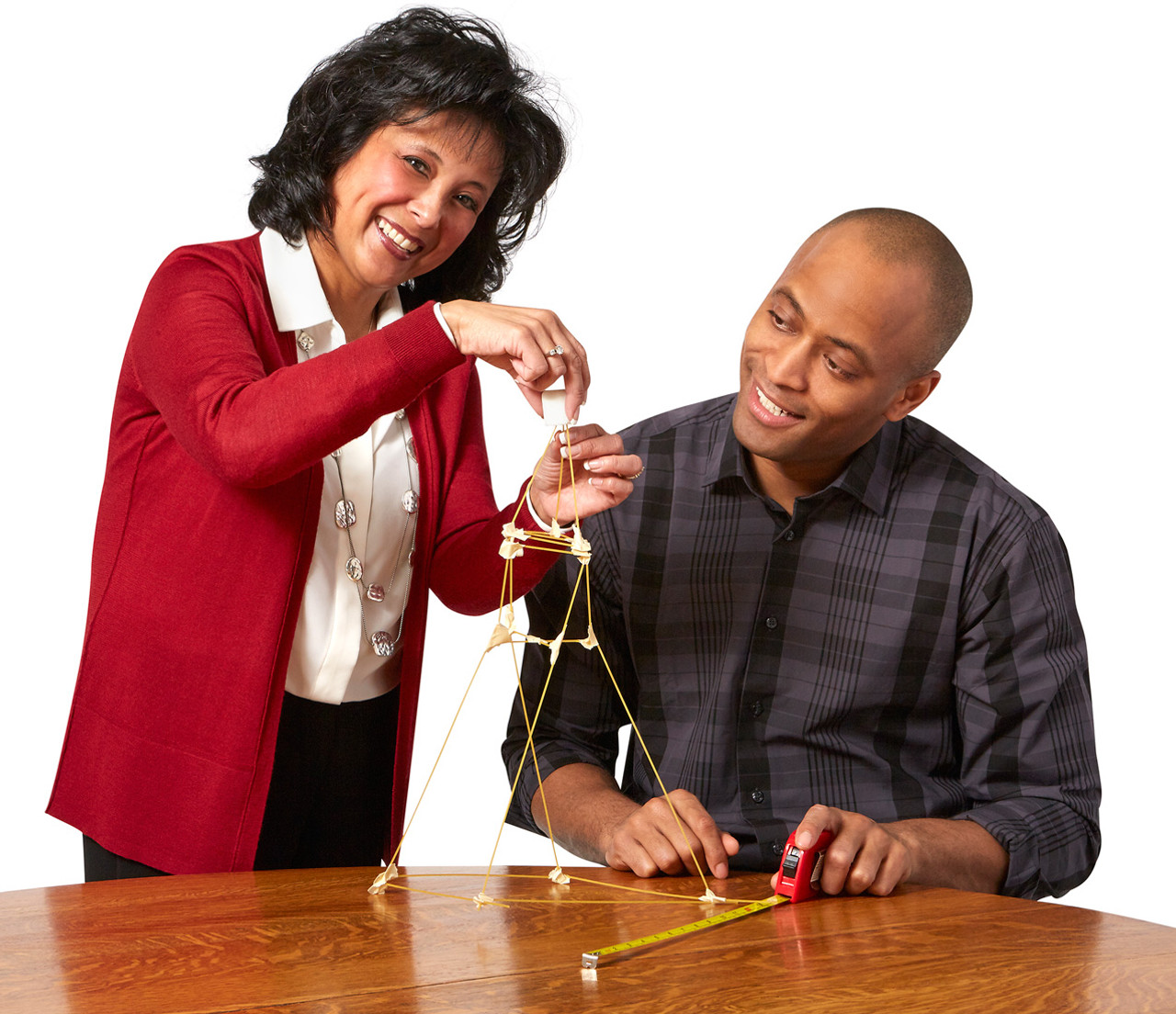 Marshmallow Challenge; players building tower