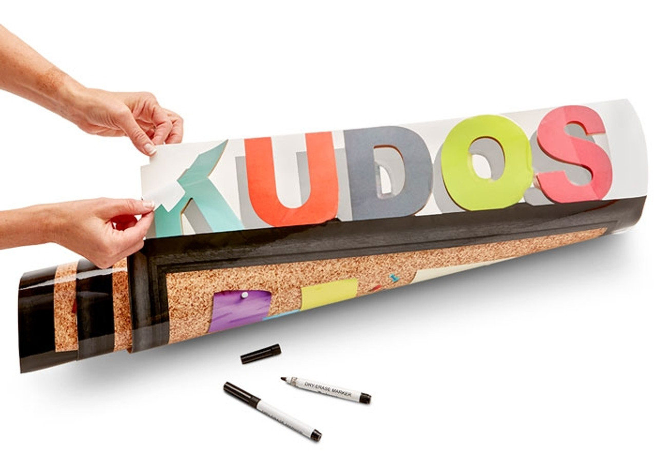 Kudos Poster, Peel & Stick; unroll and peel off