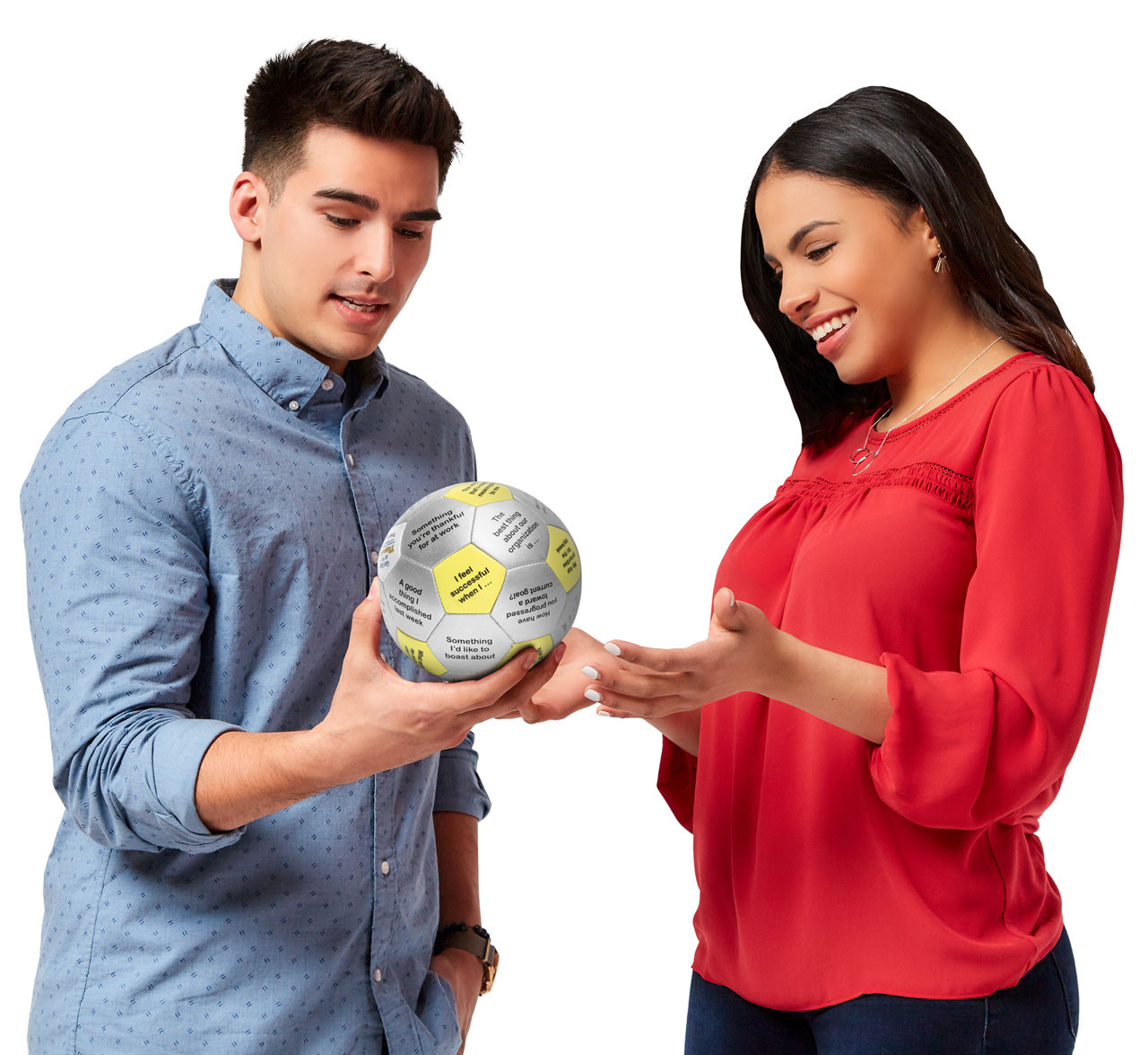 Man and woman discussing prompt on Get Happy at Work Thumball