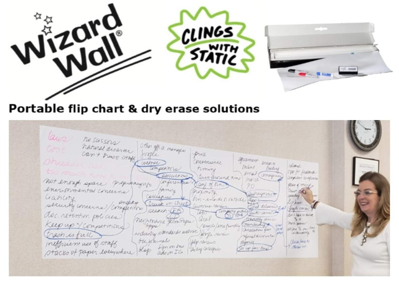 Wizard Wall refill roll 28 System, in use with writing