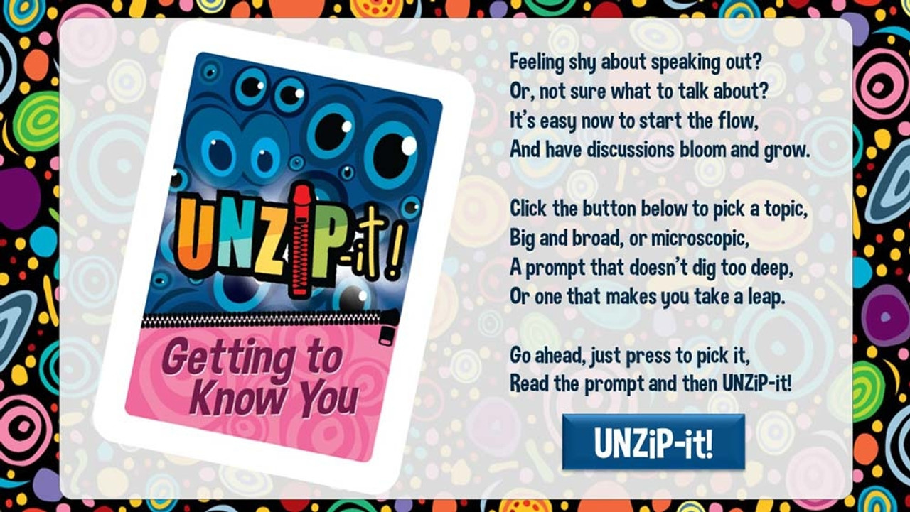 UNZiP-it! Remote w/ Getting to Know You Prompts - splash screen