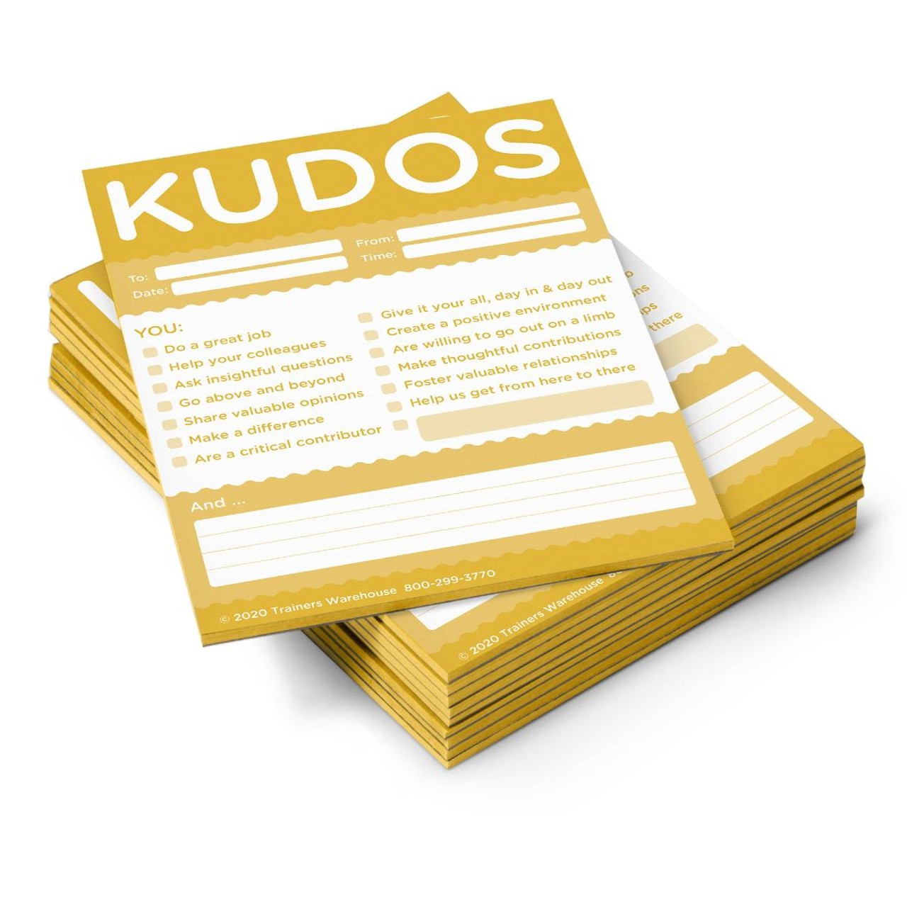 Kudos for Teams- set of 10 Note Pads (Gold)