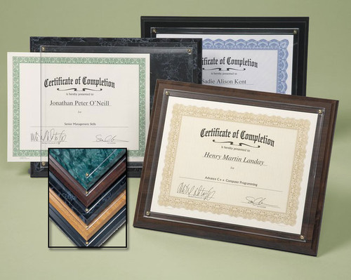 Certificate Plaque; assorted colors
