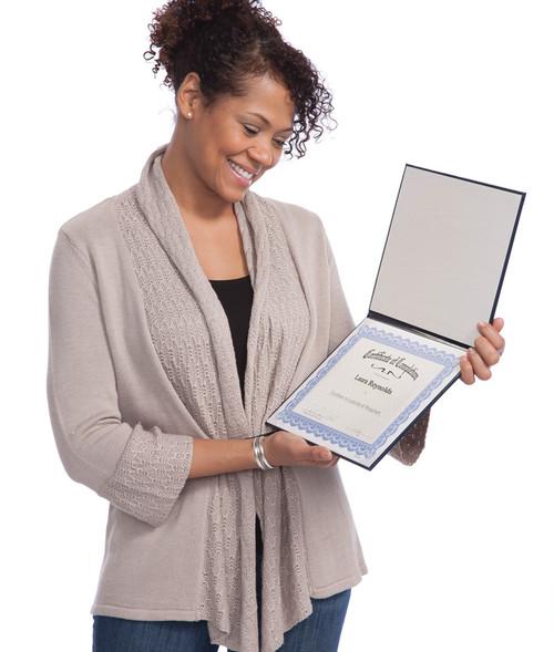 Padded Certificate Folder; in use