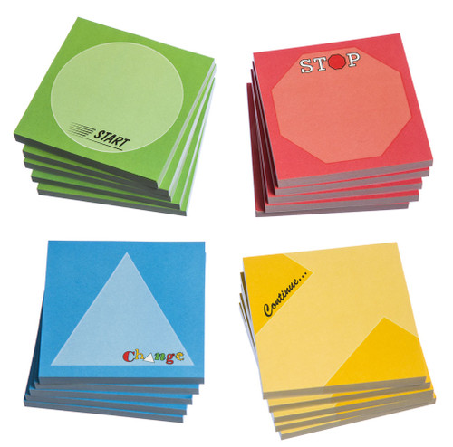 Start/Stop/Continue/Change - Sticky Notes; set of 24