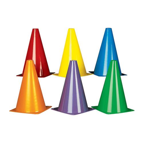 6 colored traffic cones