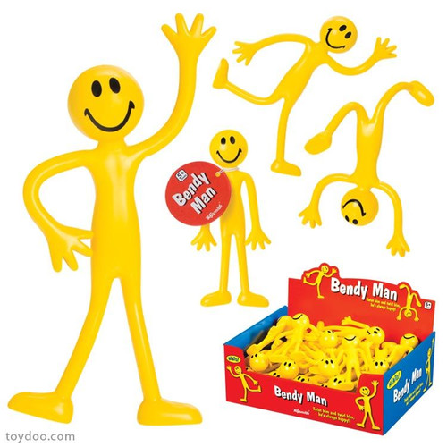 Tall Smiley Bendable Guy; formed into multiple poses