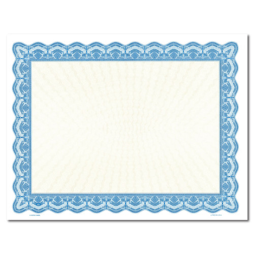 Certificate Paper, Color border with Gold Center BLUE
