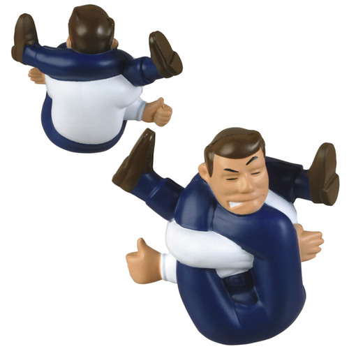Tied-Up Guy foam stress toy; front and back
