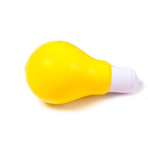 Yellow foam Lightbulb Stress Reliever, on side