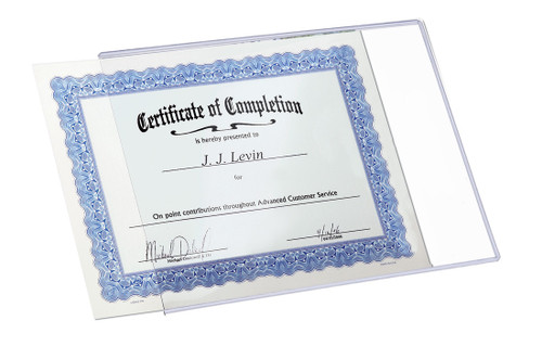 8.5x11 DocU-Sleeve with certificate halfway in