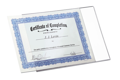 8.5x11 DocU-Sleeve,  with a certificate sliding in