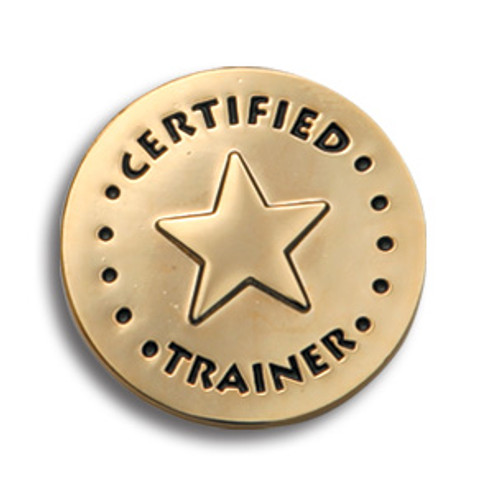 Certified Trainer Lapel Pin; round with star in center
