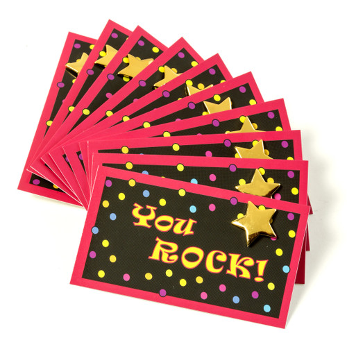 You Rock Cards and Gold Star Lapel Pins