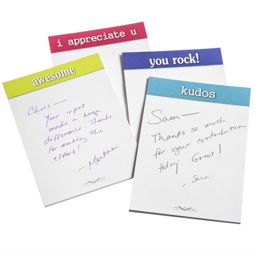 Appreciation Sticky Note Pads; 4 varieties with writing