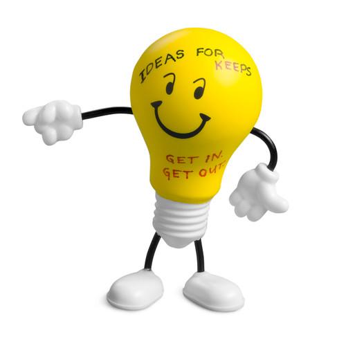 Bright Idea! Lightbulb; with writing