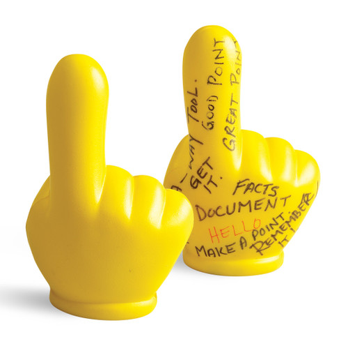 Reminder Hands ; foam stress toy with writing