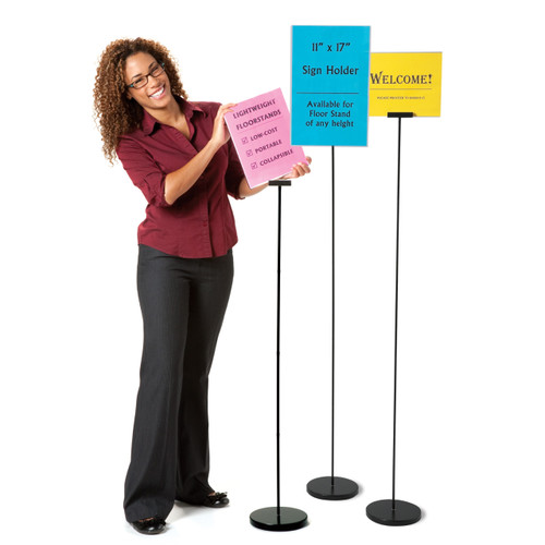 """6 ft. Floor Stand for 8.5"""" x 11"""" & 11"""" x 17"""" signs"""