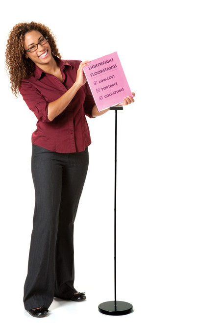 """4 ft. Floor Stand for 8.5"""" x 11"""" signs; taking sign off stand"""