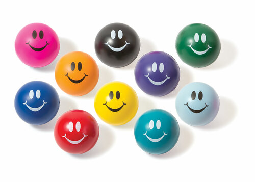 Smiley-face Balls - 10 balls in assorted colors (teal, purple, light blue, dark blue, green,  black, red, orange, pink, yellow)