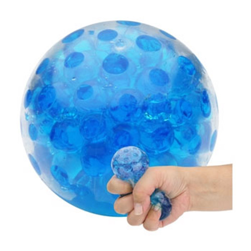 Beady Squeeze Ball - close up; with inset of hand squeezing the ball