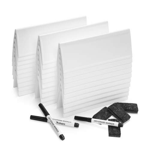 Set of 30 Reusable SMALL Tent Cards, plus Markers, Mini-Erasers