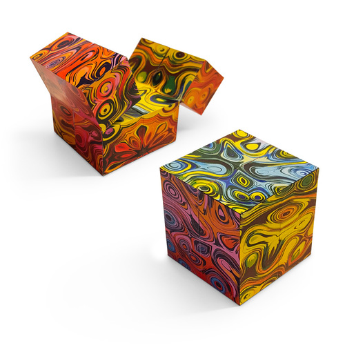 Magic Folding Cube; two units (one open; one folded into cube)