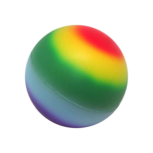 Rainbow Stress Ball. Rainbow wraps all the way around the ball. The very top is red and the bottom is violet.