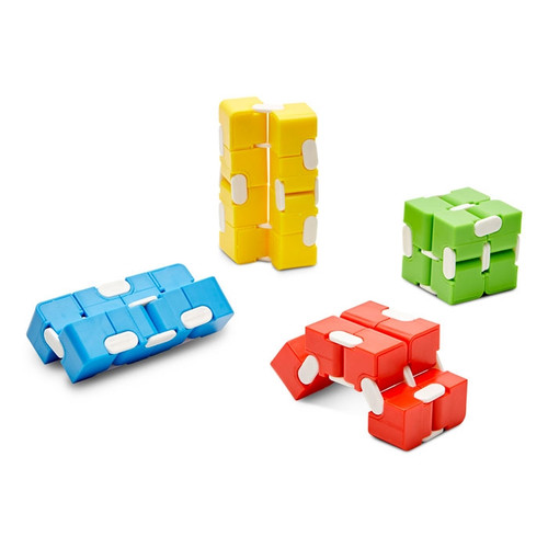 Infinity Cube Fidget; multiple units unfolded into a variety of shapes