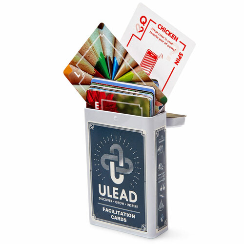 ULEAD Cards; cards coming out of tin box