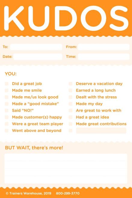 Kudos for Work Sticky Notes Orange