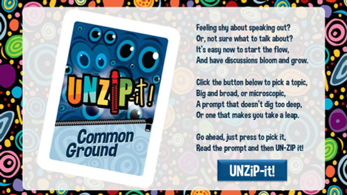 UNZiP-it! Remote w/ Common Ground Prompts - splash page