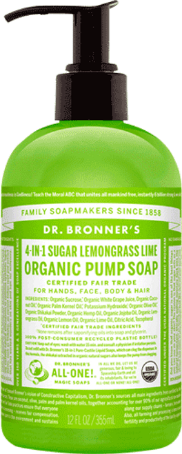 4-in-1 Sugar Lemongrass Lime Organic Pump Soap (12 oz.)