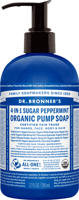 4-in-1 Sugar Peppermint Organic Pump Soap 12oz