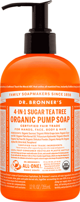 4-in-1 Sugar Tea Tree Organic Pump Soap 12oz.