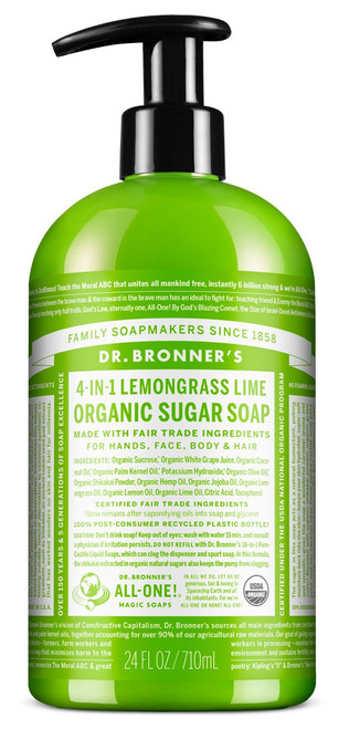 4-in-1 Sugar Lemongrass Lime Organic Pump Soap (24 oz.)
