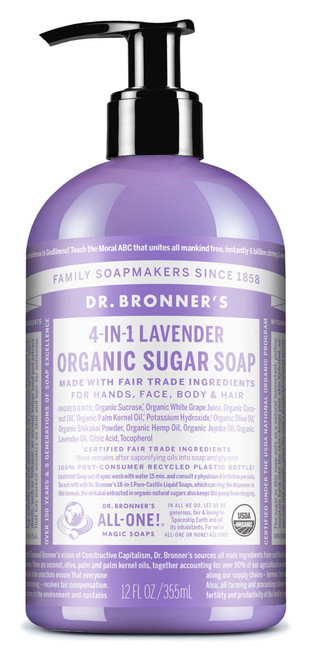 4-in-1 Lavender Organic Sugar Pump Soap (12 oz.)