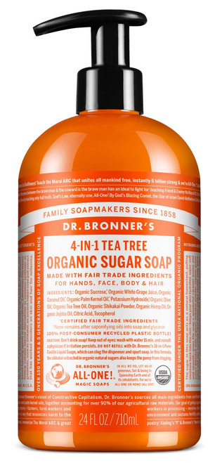 4-in-1 Sugar Tea Tree Organic Pump Soap 24 oz.