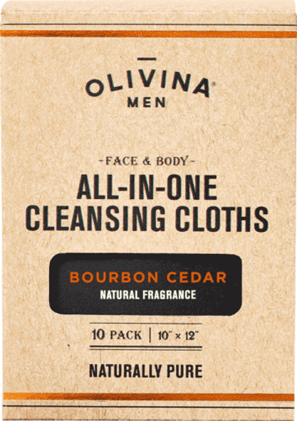 Olivina Men Bourbon Cedar Facial Cleansing Wipes