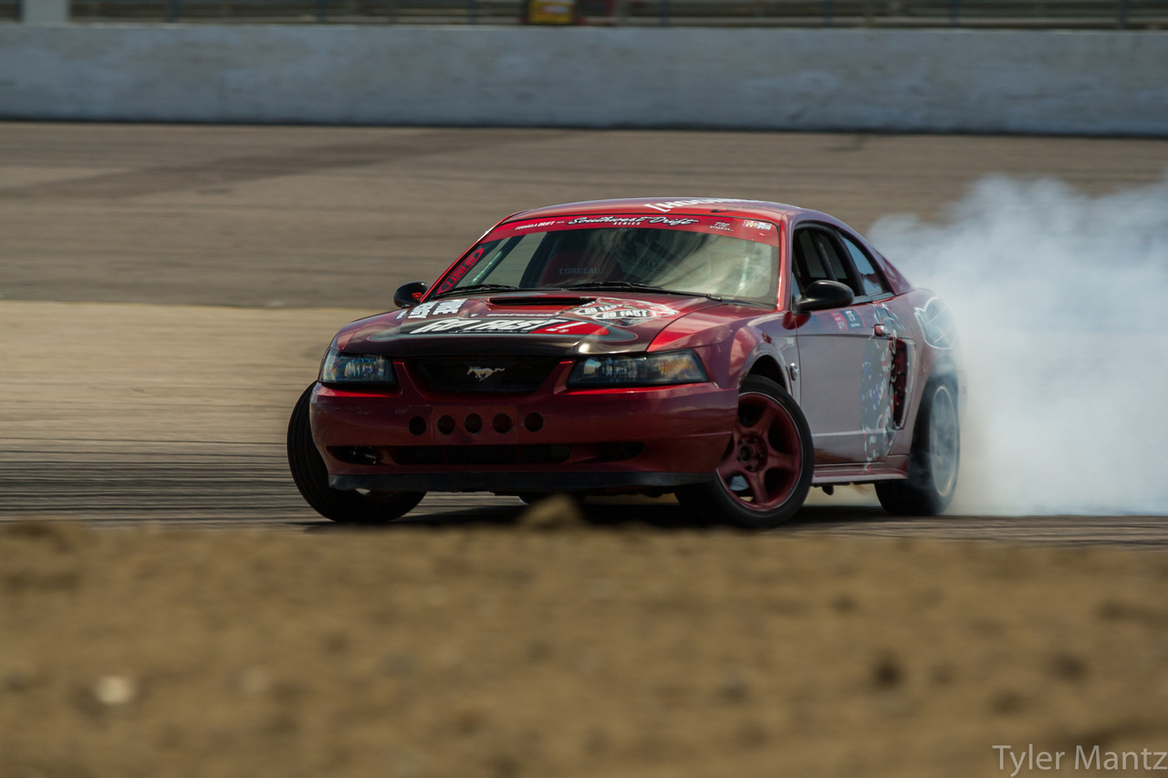 Here is a New Edge (99-04) Mustang drifting with this angle kit.